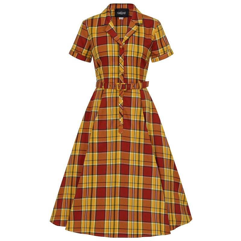 Collectif Caterina Autumn Leaves Check Dress