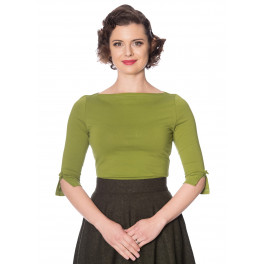 Banned Retro Oonagh Basic Top in Olive Green