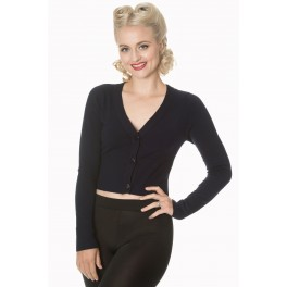 Banned Retro Let's Go Dancing Cropped Cardigan Midnight Blue