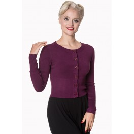 Banned Retro Dolly Cropped Cardigan Aubergine