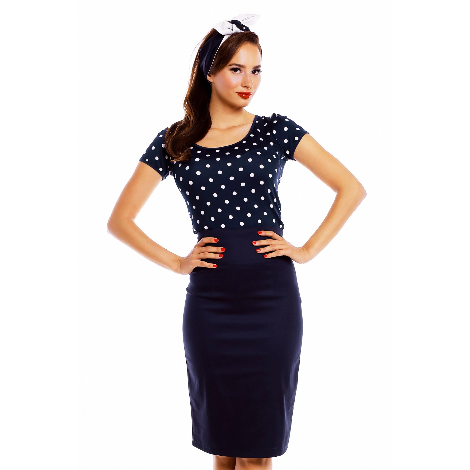 Dolly & Dotty retro top Gina Navy