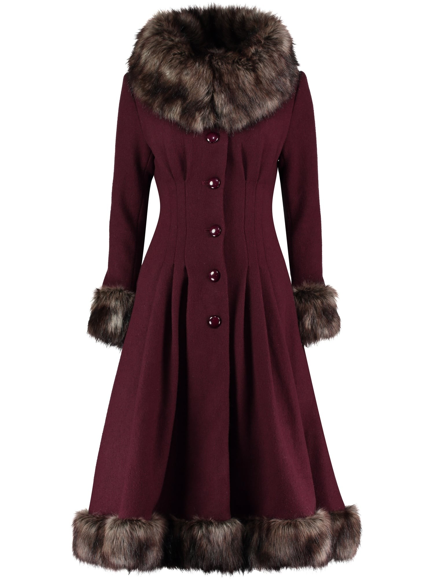Collectif Vintage Pearl Coat in Wine