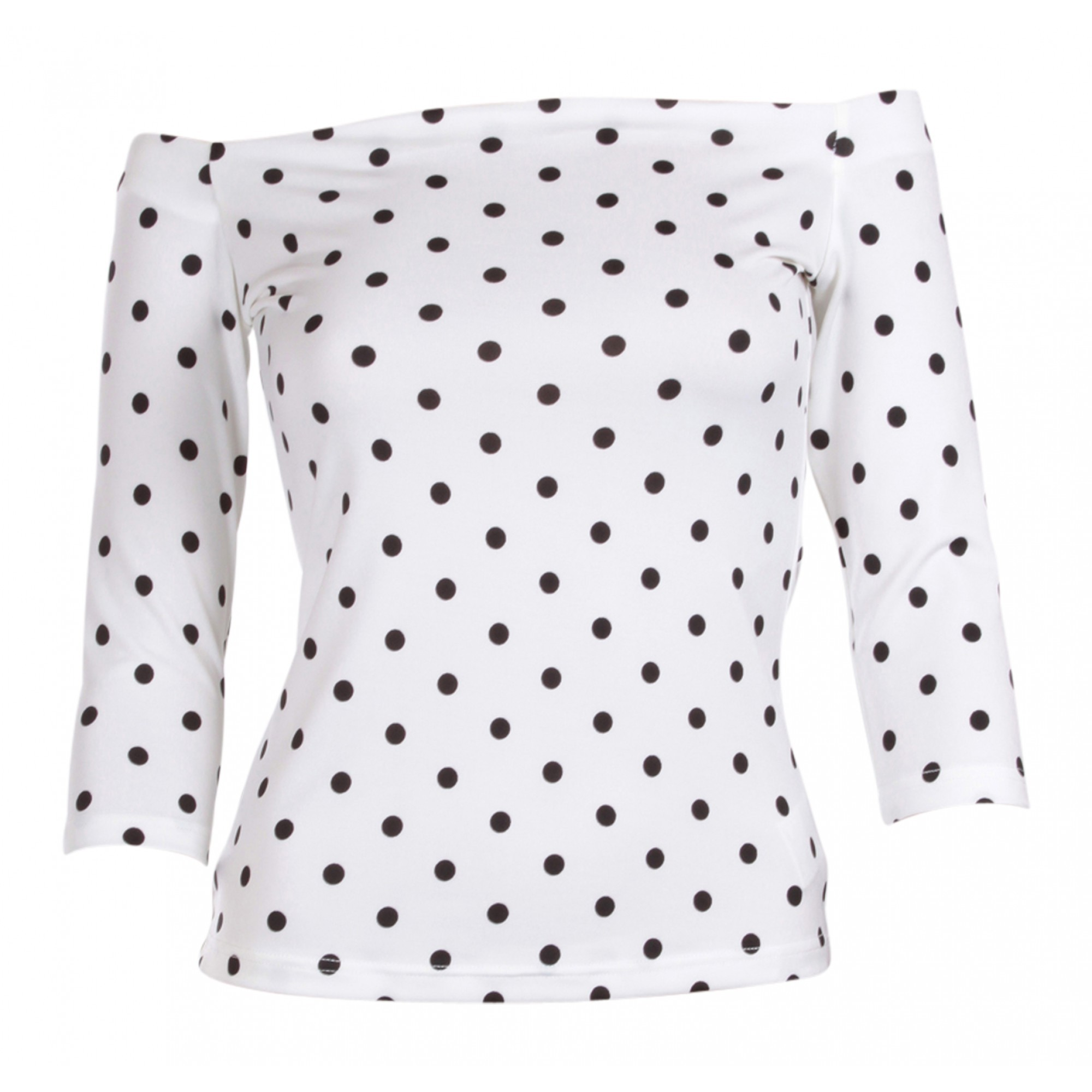 Dolly & Dotty White & Black Gloria Bardot Top