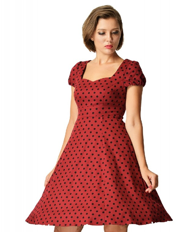 Dolly & Dotty Burgundy Polka Dot Claudia Dress