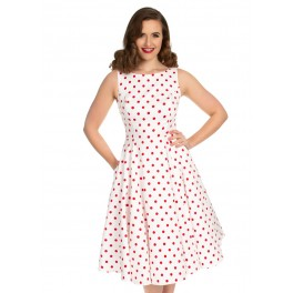 H&R London Cindy White Polka Dot Dress