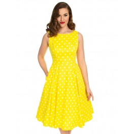 H&R London šaty Cindy - Yellow Polka Dot