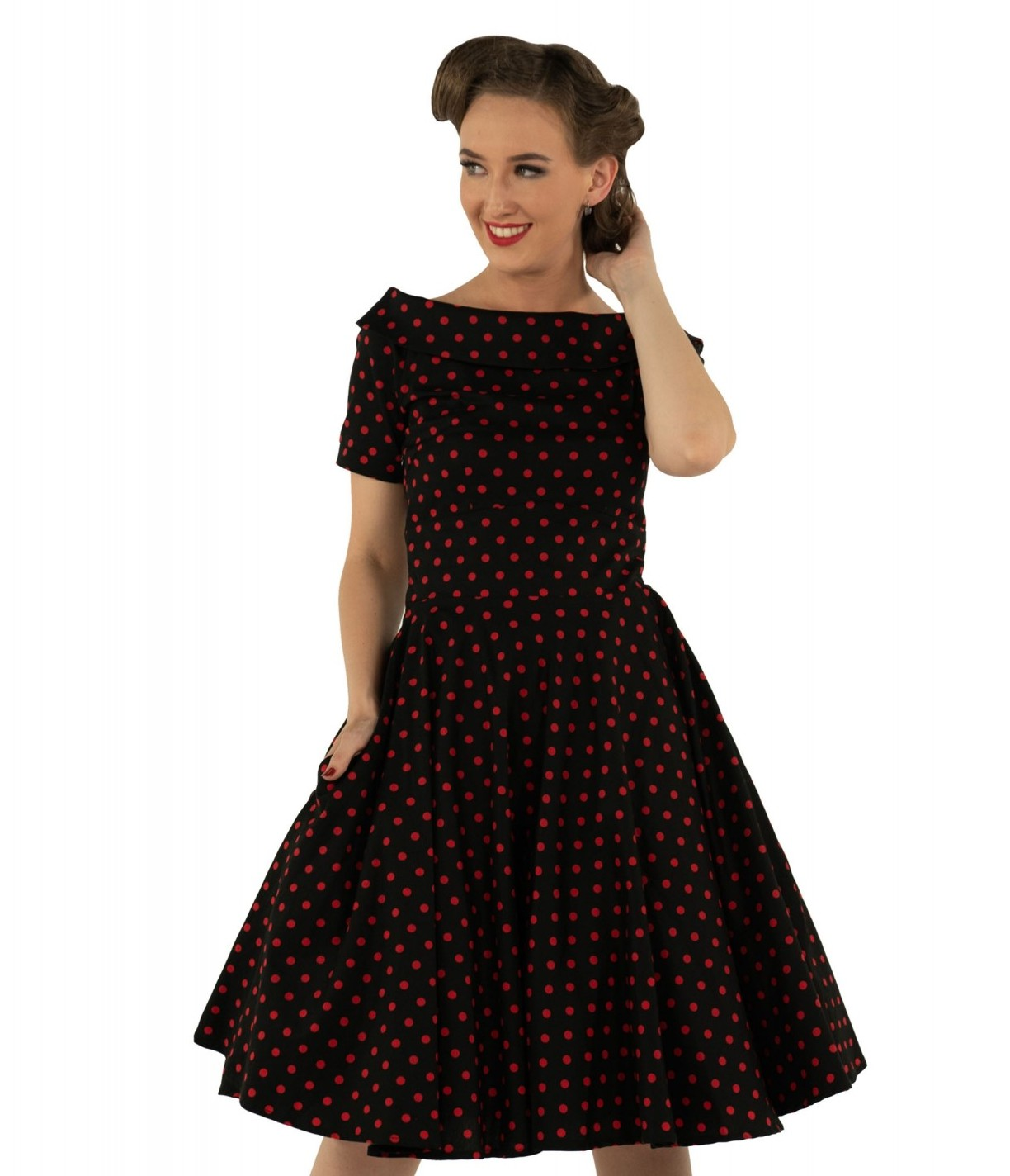 Dolly & Dotty Black Red Polka Dot Darlene Dress