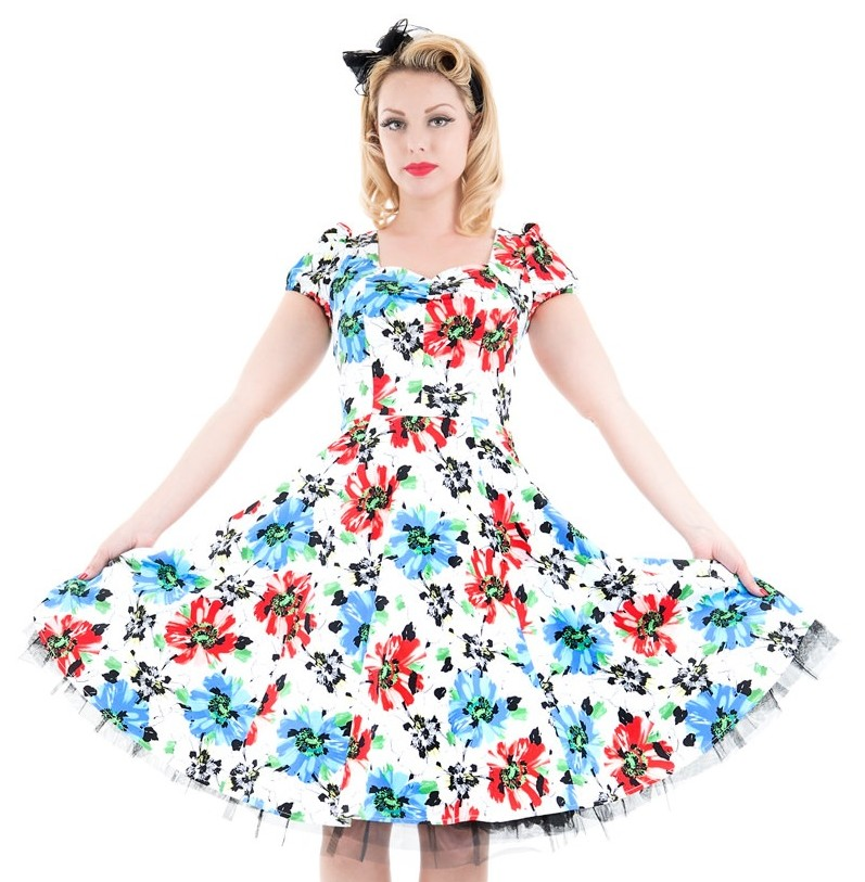H&R London Blue Hardy Geraniums Dress