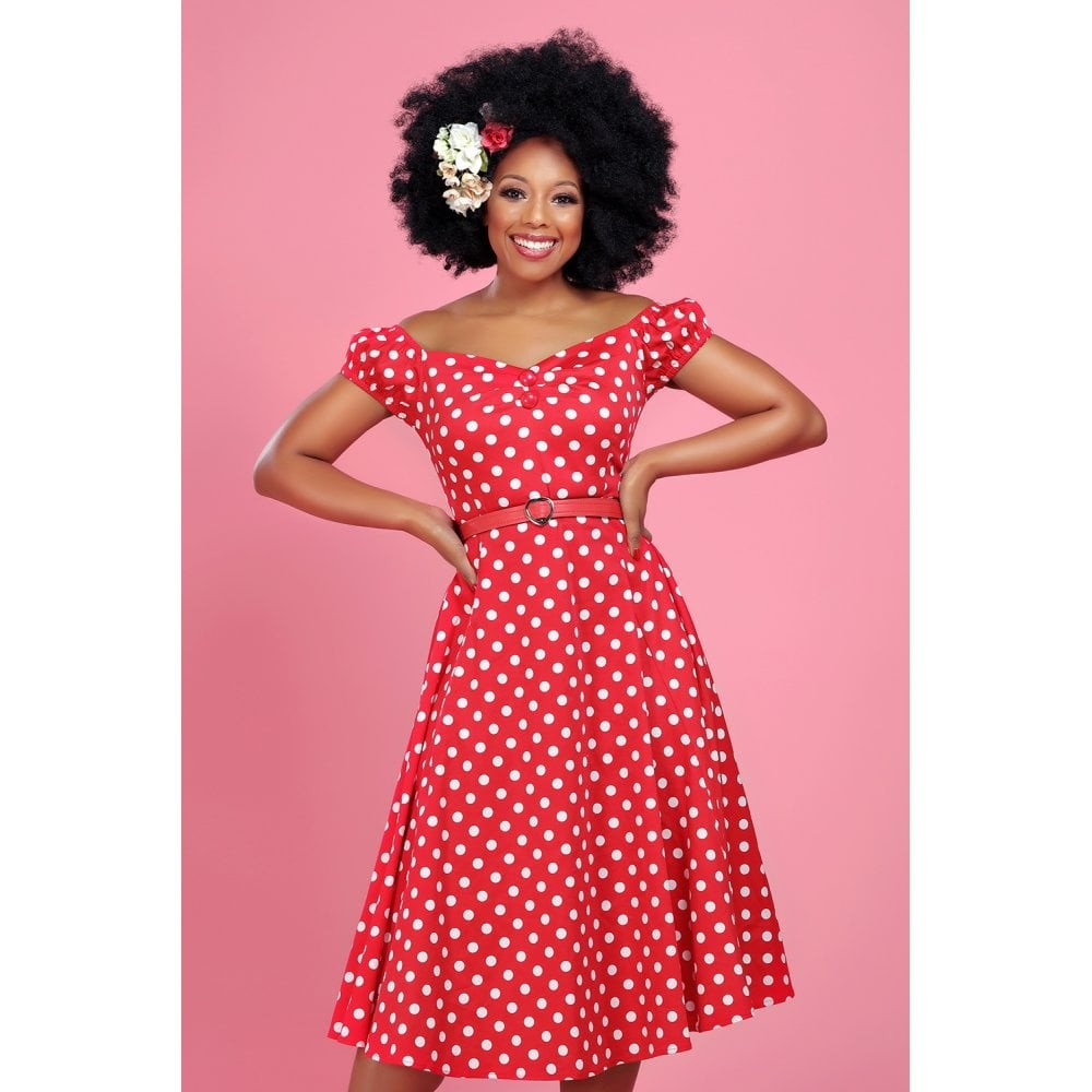 Collectif Red Polka Dot Dolores Doll Dress