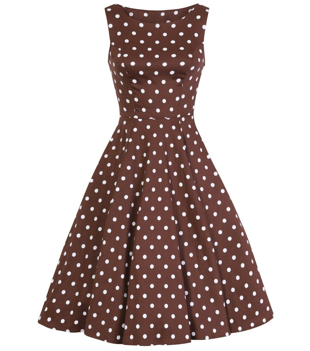 H&R London Cindy Chocolate Polka Dot Dress