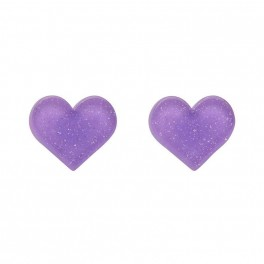 Essentials Heart Studs - Glitter Resin - Lavender