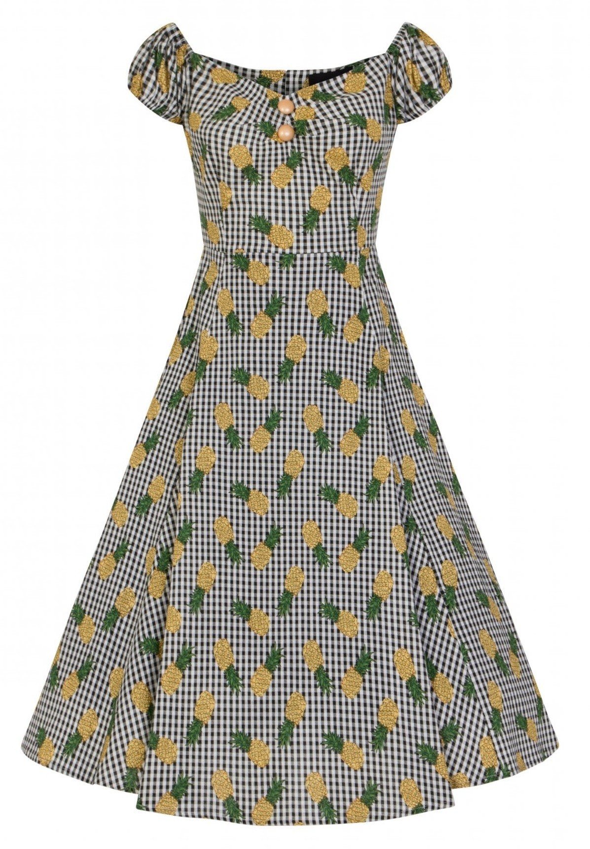 Collectif Dolores Pineapple Gingham Dress