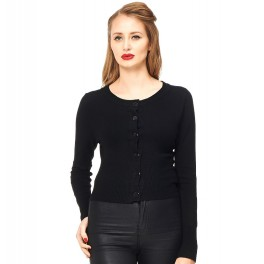 Banned Retro Dolly Cropped Cardigan Black