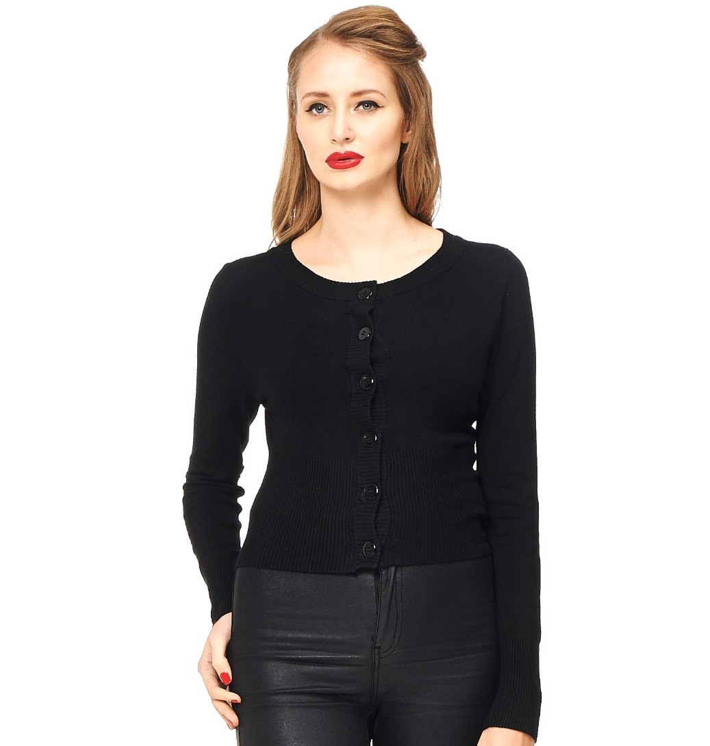 Banned Apparel Dolly Cropped Cardigan Black