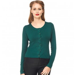 Banned Apparel Dolly Cropped Cardigan Forest Green