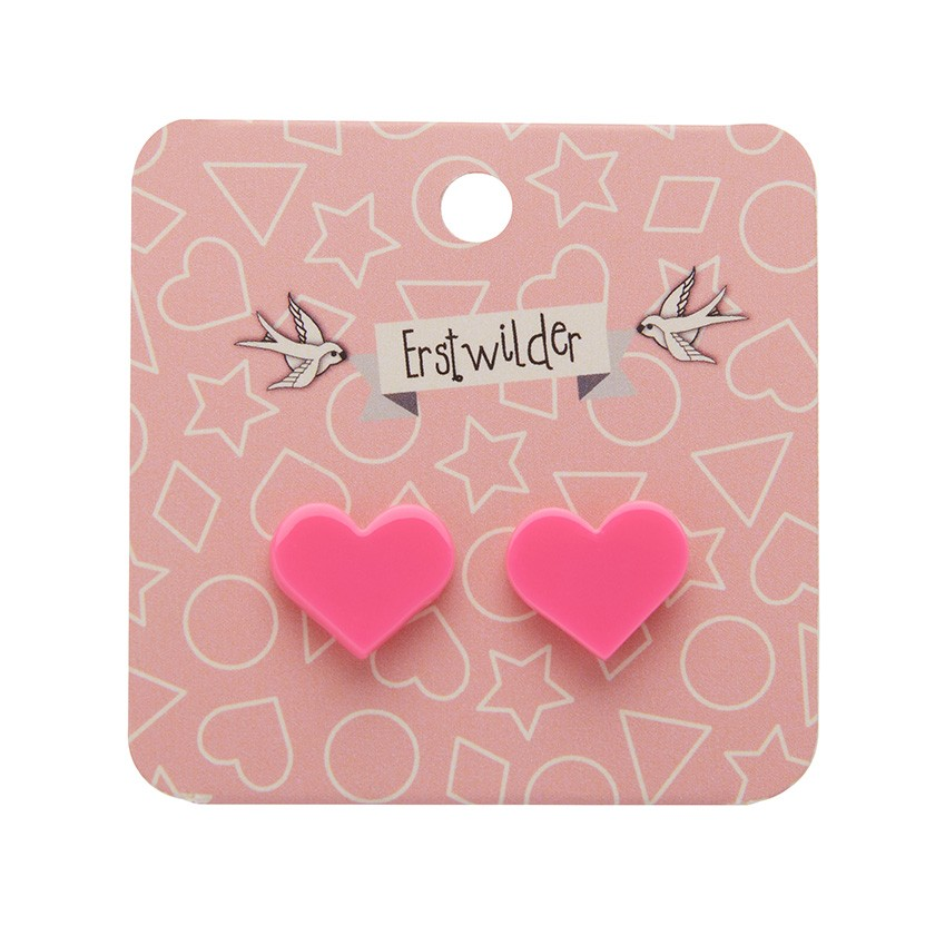 Essentials Heart Studs - Solid Resin - Pink