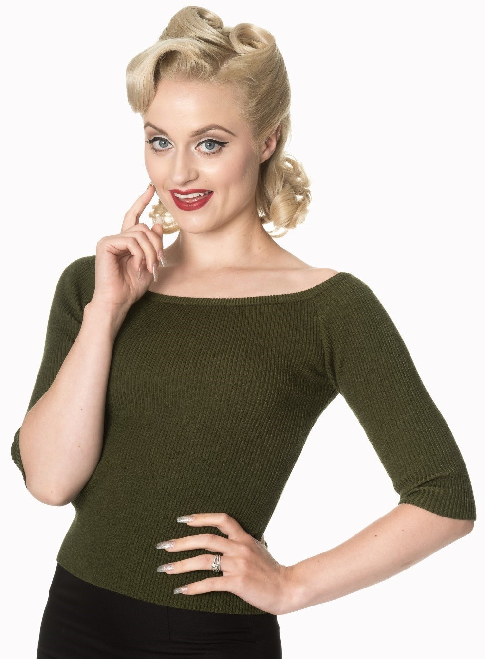 Banned Apparel Wickedly Wonderful Top Olive