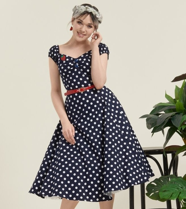 Collectif Blue Polka Dot Dolores Doll Dress