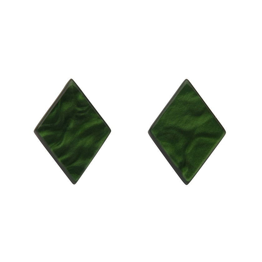 Essentials Diamond Studs - Textured Resin - Green