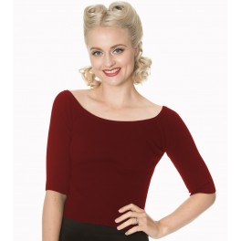 Banned Retro Wickedly Wonderful Top Burgundy
