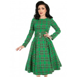 H&R London Highland Swing Dress - Green