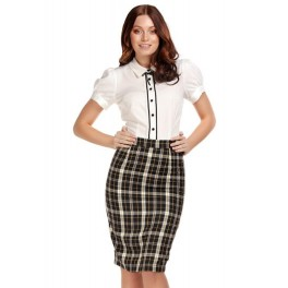 Collectif Polly Geek Check Pencil Skirt