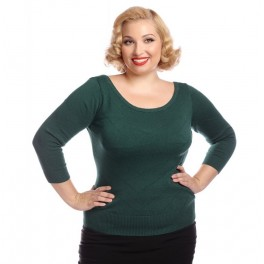 Collectif Vintage Bardot Boat Neck Jumper - Green