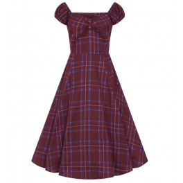 Collectif Wine Check Dolores Doll Dress