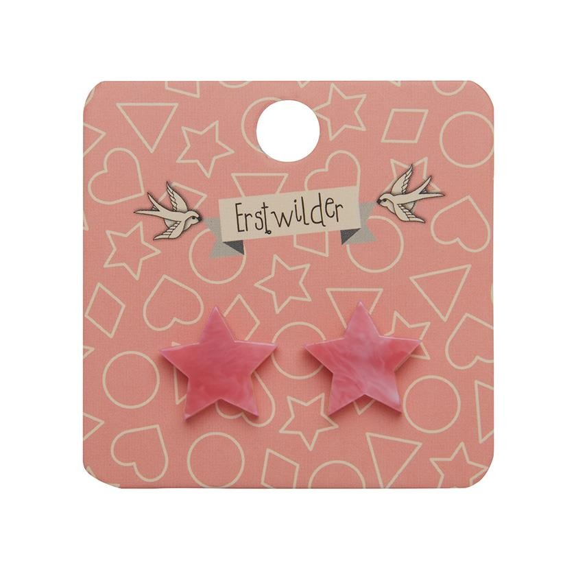 Essentials Star Studs - Marble Resin - Pink