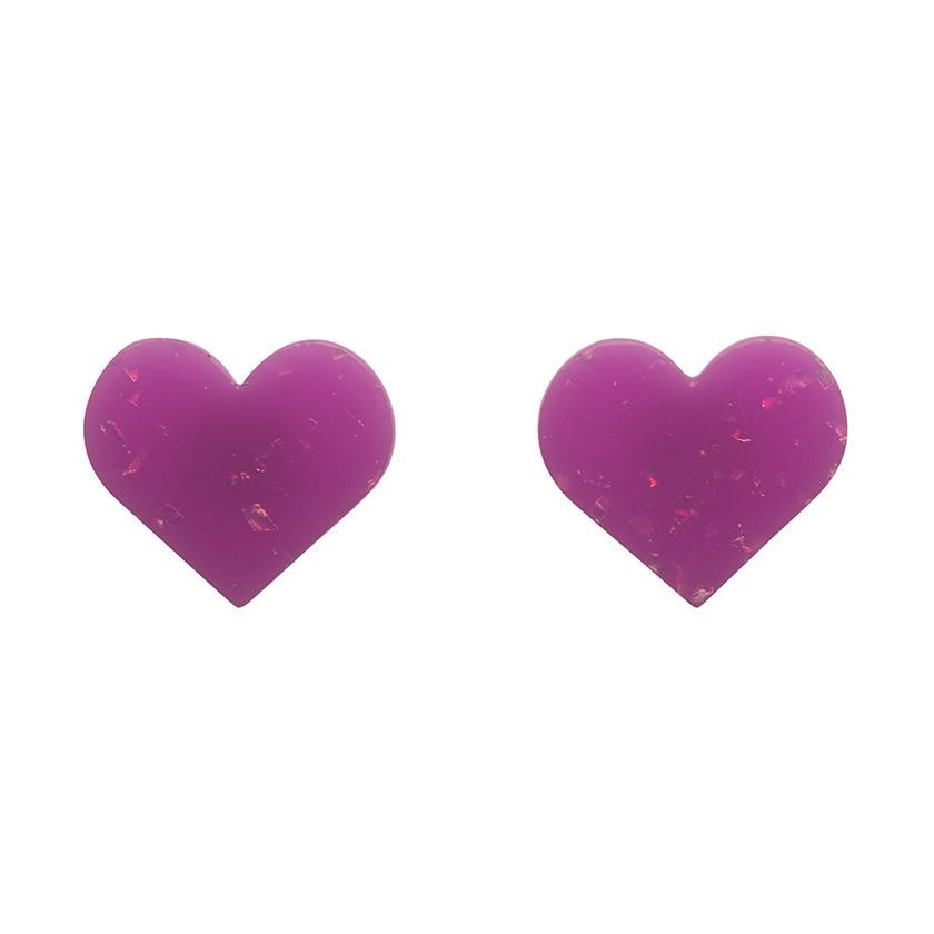 Essentials Heart Studs - Glitter Resin - Purple