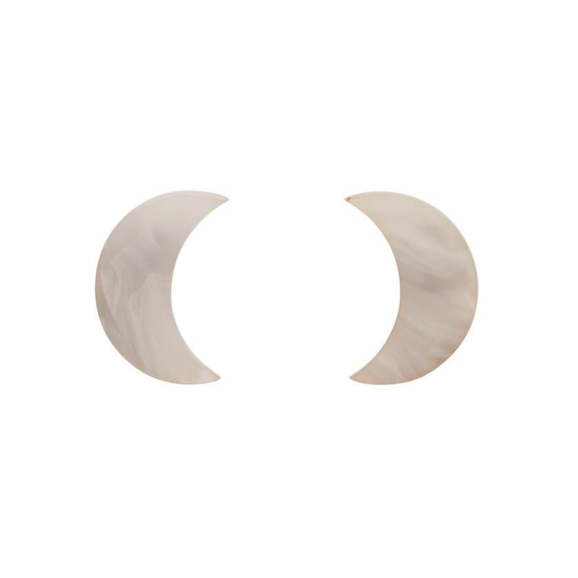 Essentials Crescent Moon Studs - Marble Resin - White