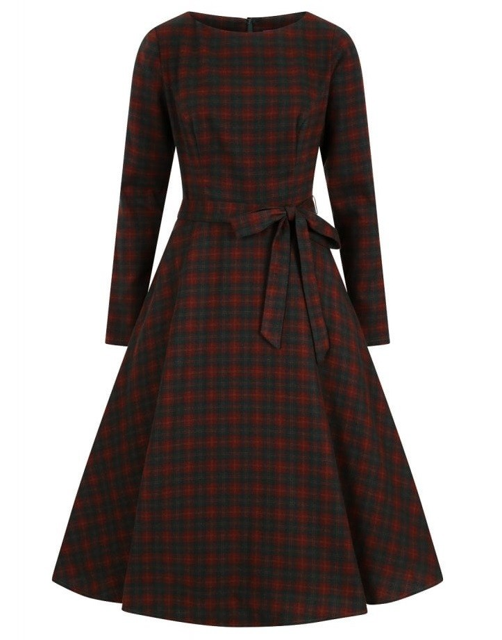 Collectif Vintage Arwen Woodland Pine Check Swing Dress