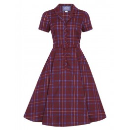 Collectif Caterina Wine Check Dress