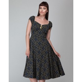 Collectif Dolores Hatch Check Doll Dress