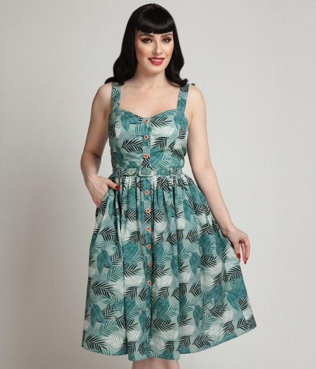 Collectif Jemima Cool Palm  Dress