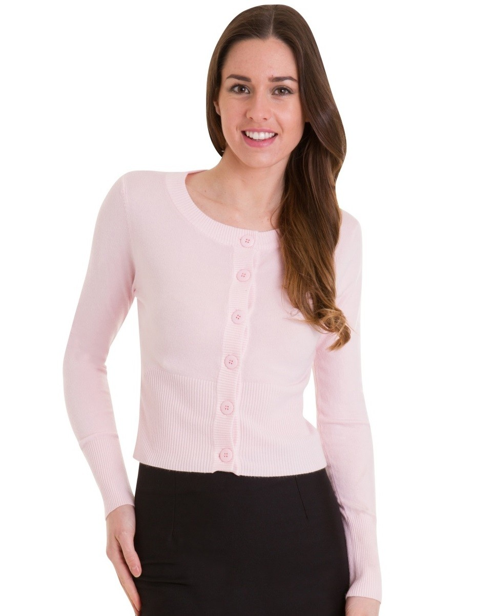 Banned Apparel Dolly Cropped Cardigan Pink