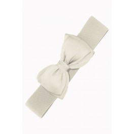 Banned Apparel Cream Bella Retro Bow Belt