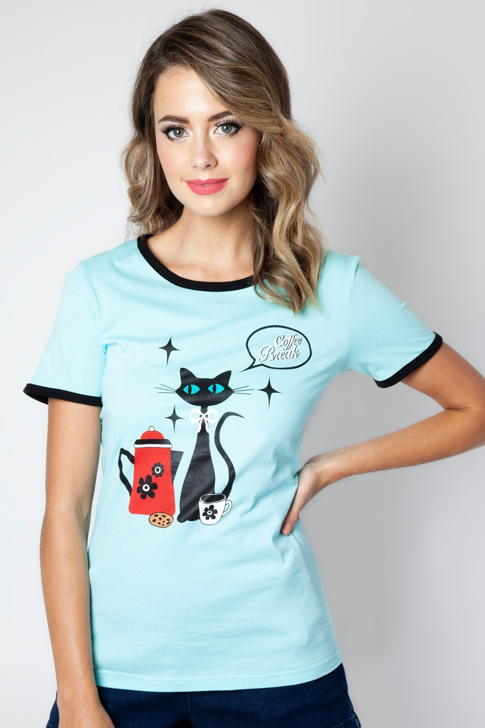 Voodoo Vixen Coffee Break Cat Tee