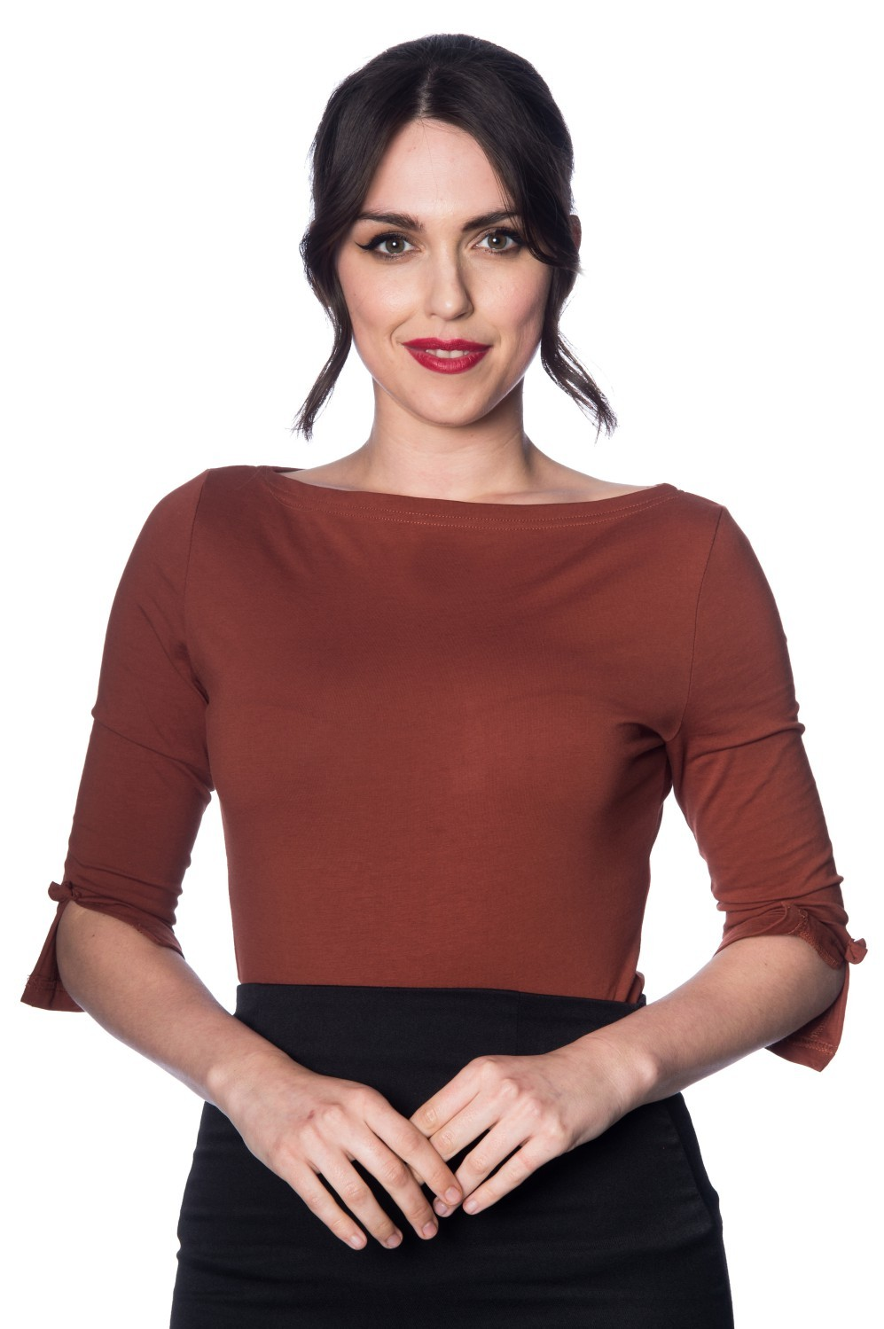 Banned Retro Oonagh Basic Top in Brown