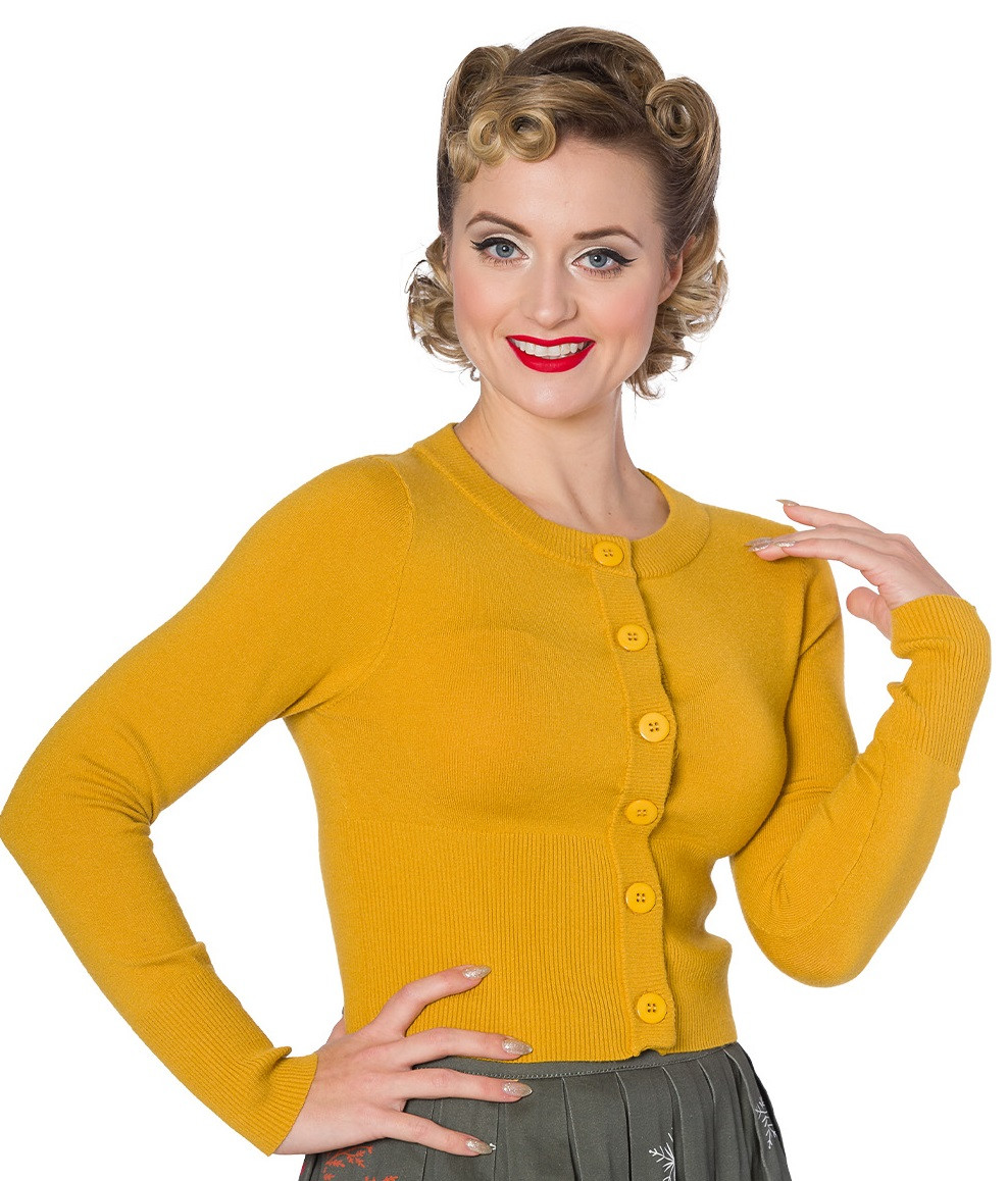 Banned Retro Dolly Cropped Cardigan Mustard