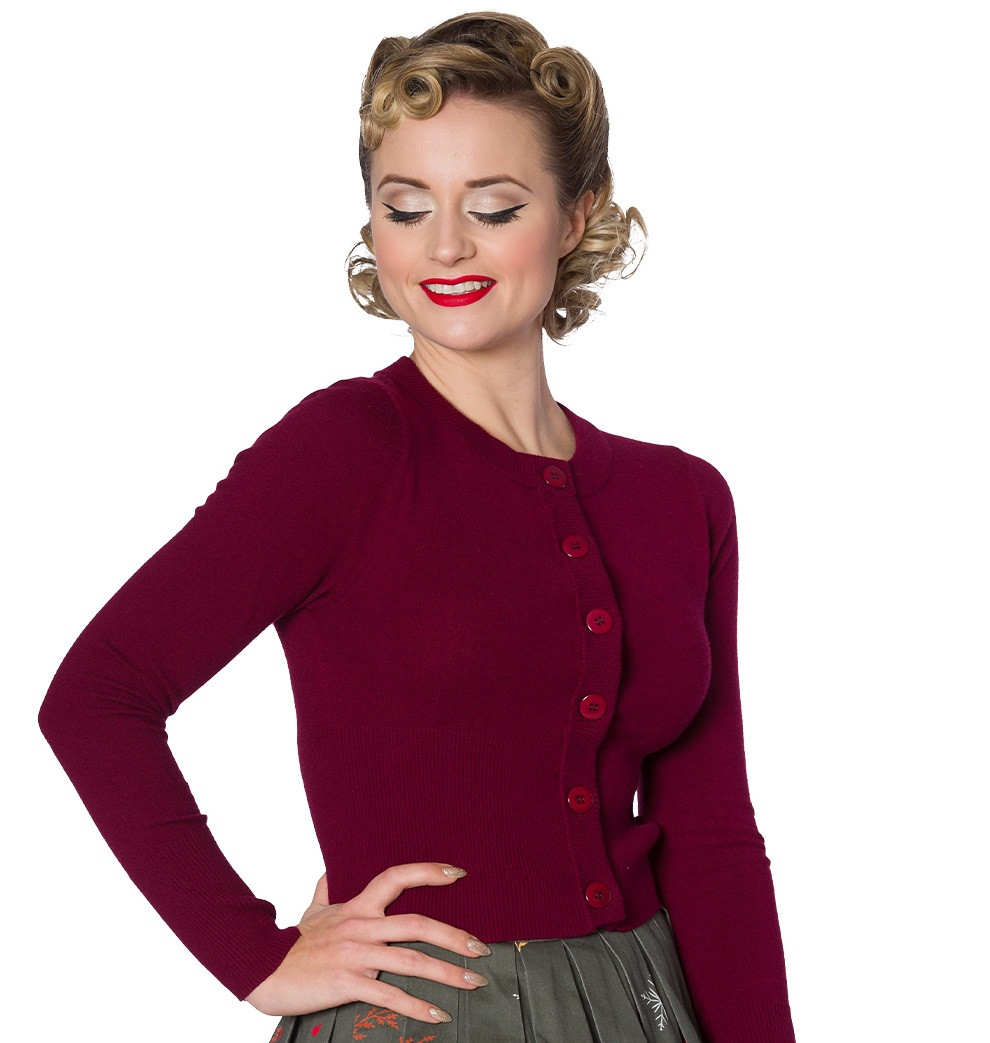 Banned Retro Dolly Cropped Cardigan Burgundy