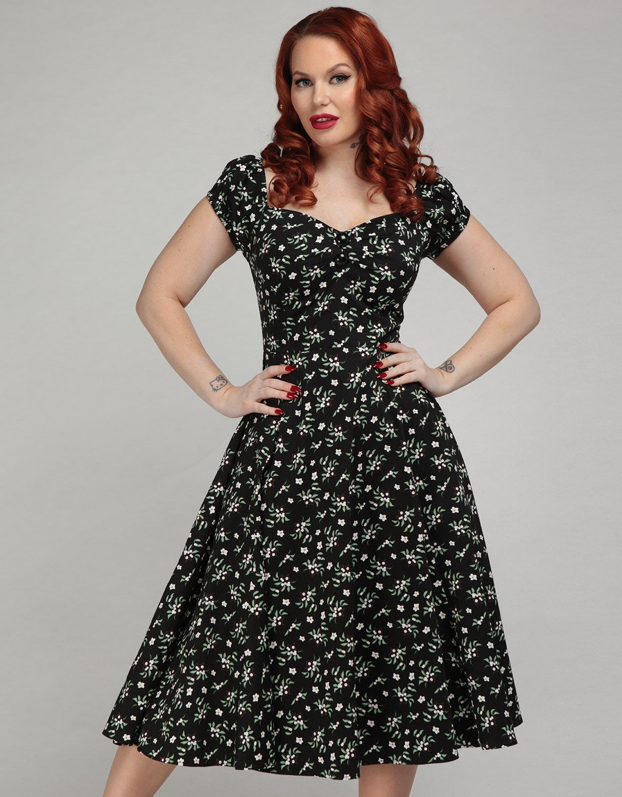 Collectif Berry Floral Dolores Doll Dress