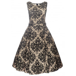 Lady V London Grey Damask Hepburn Dress