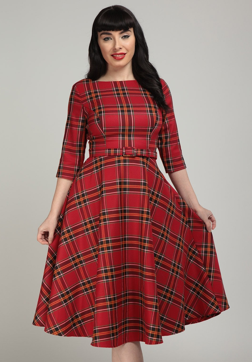Collectif Suzanne Berry Check Swing Dress