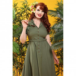 Collectif Olive Green Caterina Dress